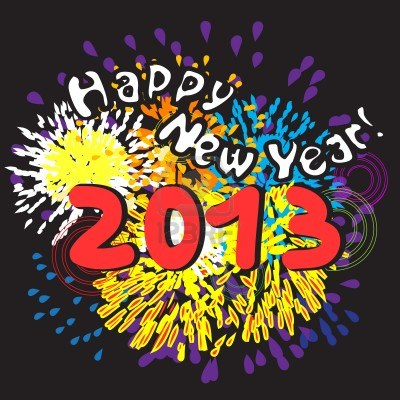 14976718-happy-new-year-2013-greetings-card-with-fireworks-over-black-night-background