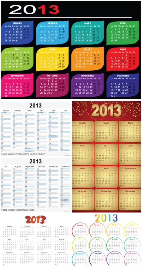 2013-calendar-grid-layouts-vector
