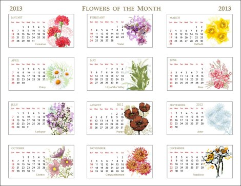 2012 Flowers of Month Calendar