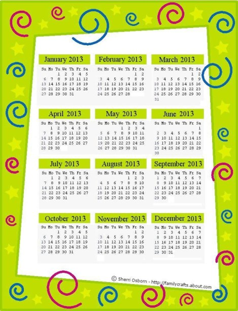 Lime-Green-2013-Calendar-Page