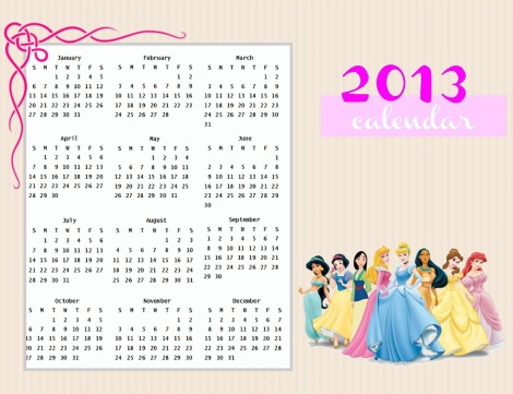 printable 2013 disney princess calendar