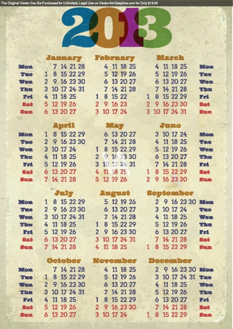 Retro-2013-Calendar-Printed-On-Aged-Paper-2450a56