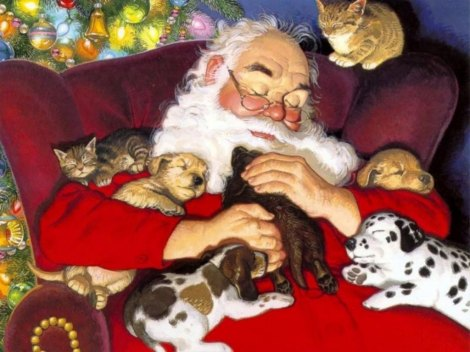 wallpaper-papai-noel-e-os-filhoes-santa and puppies and kitties