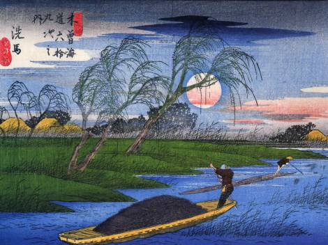 hiroshige-men-poling-boats-past-a-bank-with-willows