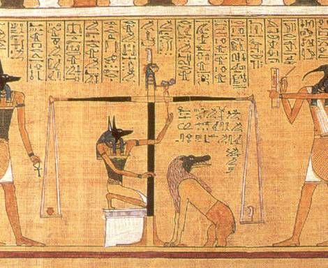 pesando.o.coracao (ca. 1275 B.C.), shows the scribe Hunefer's heart being weighed on the scale of Maat against the feather of truth, by the jackal-headed Anubis. The Ibis-headed Thoth, scribe of the gods, records the result.