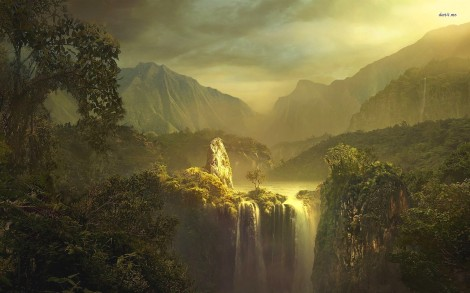 11635-waterfall-in-the-mountain-valley-1680x1050-fantasy-wallpaper