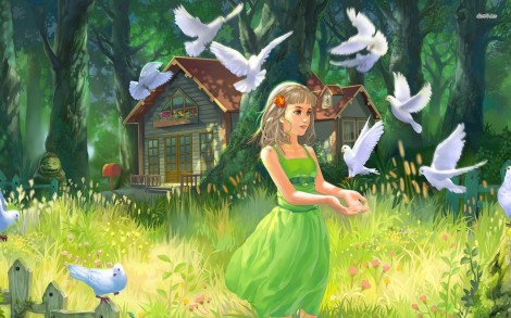 5415-girl-playing-with-doves-1680x1050-digital-art-wallpaper