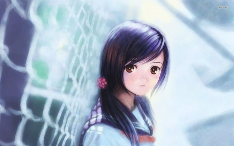 9551-schoolgirl-leaned-against-fence-1680x1050-anime-wallpaper