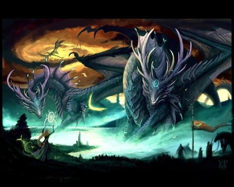 Gigantic Dragons with Witch