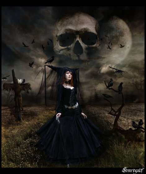 gothic-witch-and-skull
