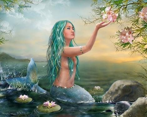 Little Mermaid Hodling Flower