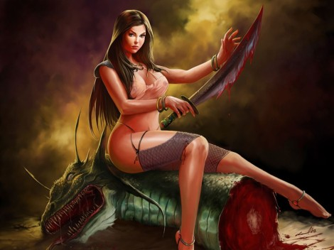 mulher.sobre.cabeça.de.dragão