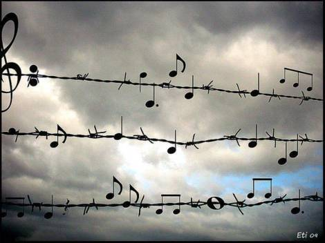 music.notes.barbed.wire