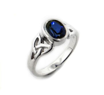 Sterling Silver Celtic Knot and Genuine Blue Sapphire Ring(Sizes 4,5,6,7,8,9,10,11,12,13,14,15)