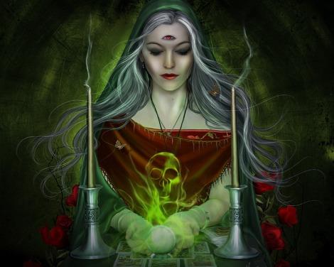 Witch with three eye summoning smoke Skull